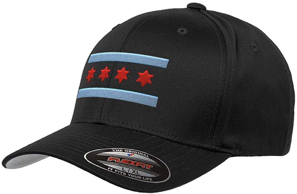Chicago Flag Flexfit Premium Classic Yupoong Wooly Combed 6277 LR Hat (S/M)