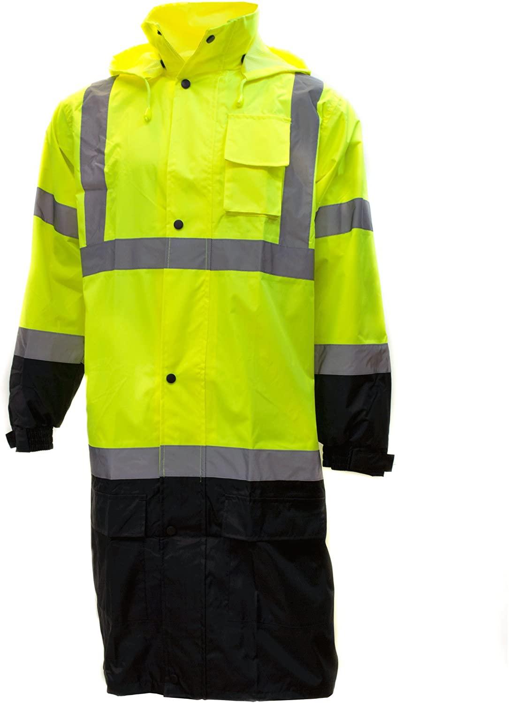 RK Class 3 Rainwear Reflective Hi-Viz Black Bottom Long Rain Coat RC-CLA3-LM22 (Medium, Lime)