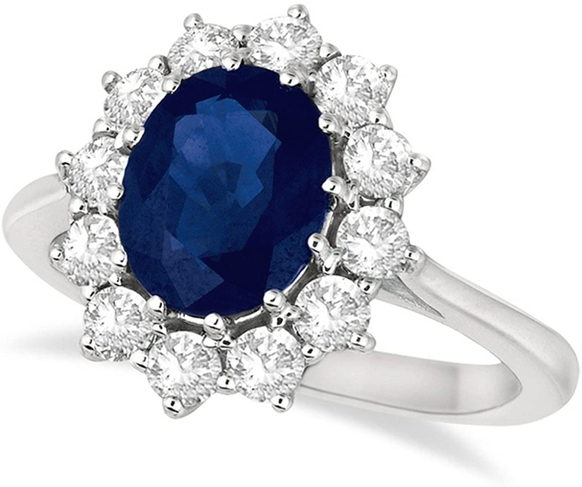 14k Gold Oval Blue Sapphire and Diamond Accented Ring (3.60ctw)