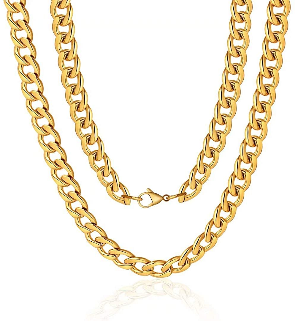 M MOOHAM 5MM 7MM 8MM 9MM 10MM 12MM Black Silver Gold Plated Stainless Steel Cuban Link Chain Necklace for Men Women 16-36 Inch