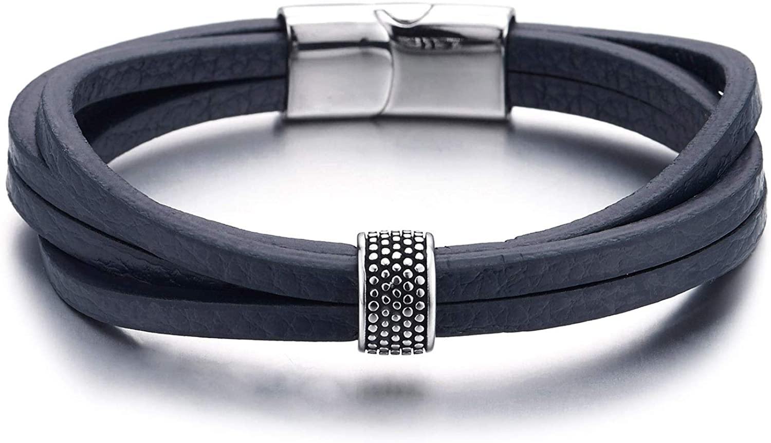 COOLSTEELANDBEYOND Mens Womens Multi-Strand Navy Blue Leather Bracelet Wristband with Dotted Bead Charm, Magnetic Clasp