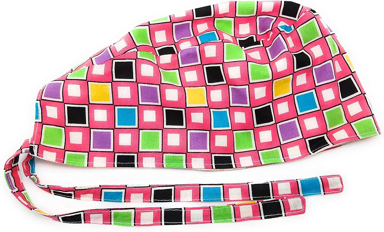 Scrub Hat Colorful Geometric Shapes Squares Fun Cotton Fabric Cap Do-Rag Skull