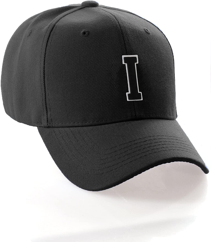 Classic Baseball Hat Custom A to Z Initial Team Letter, Black Cap White Black