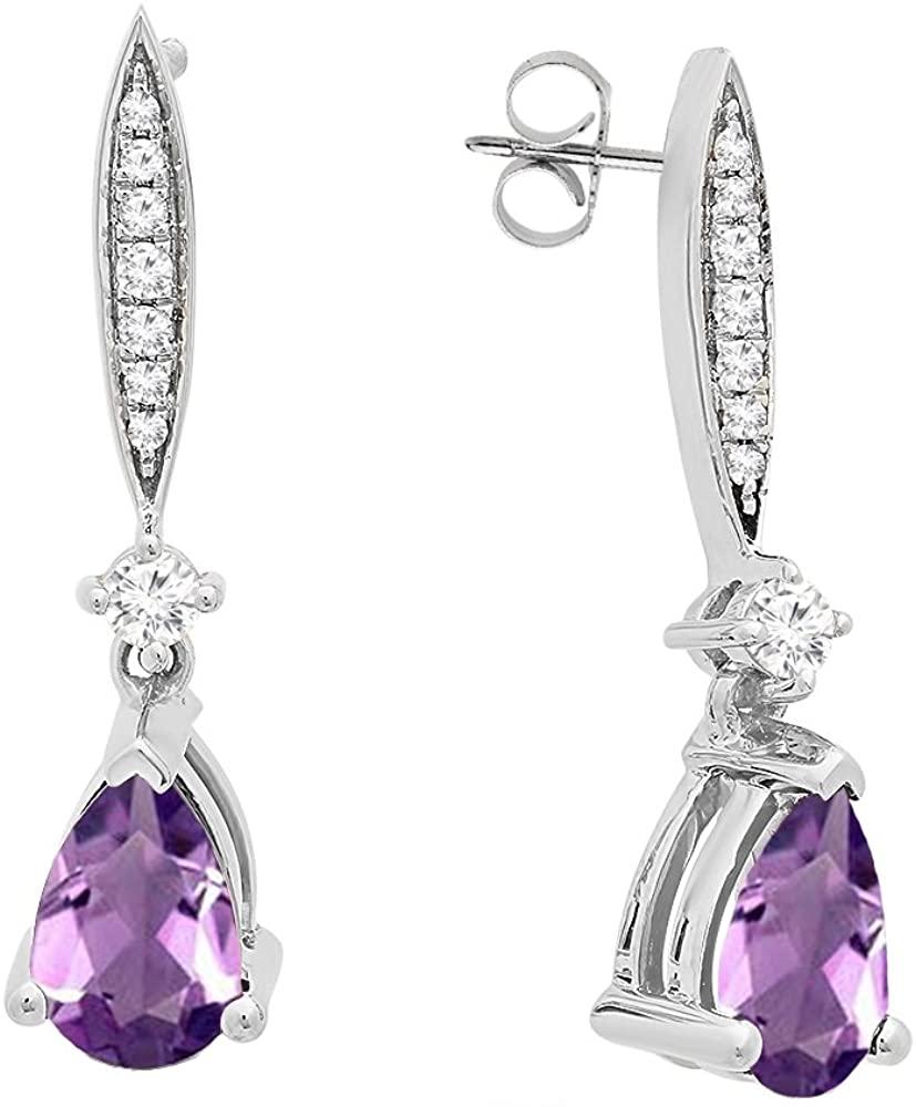Dazzlingrock Collection 14K 8X5 MM Each Pear Gemstone & Round White Diamond Ladies Teardrop Dangling Drop Earrings, White Gold
