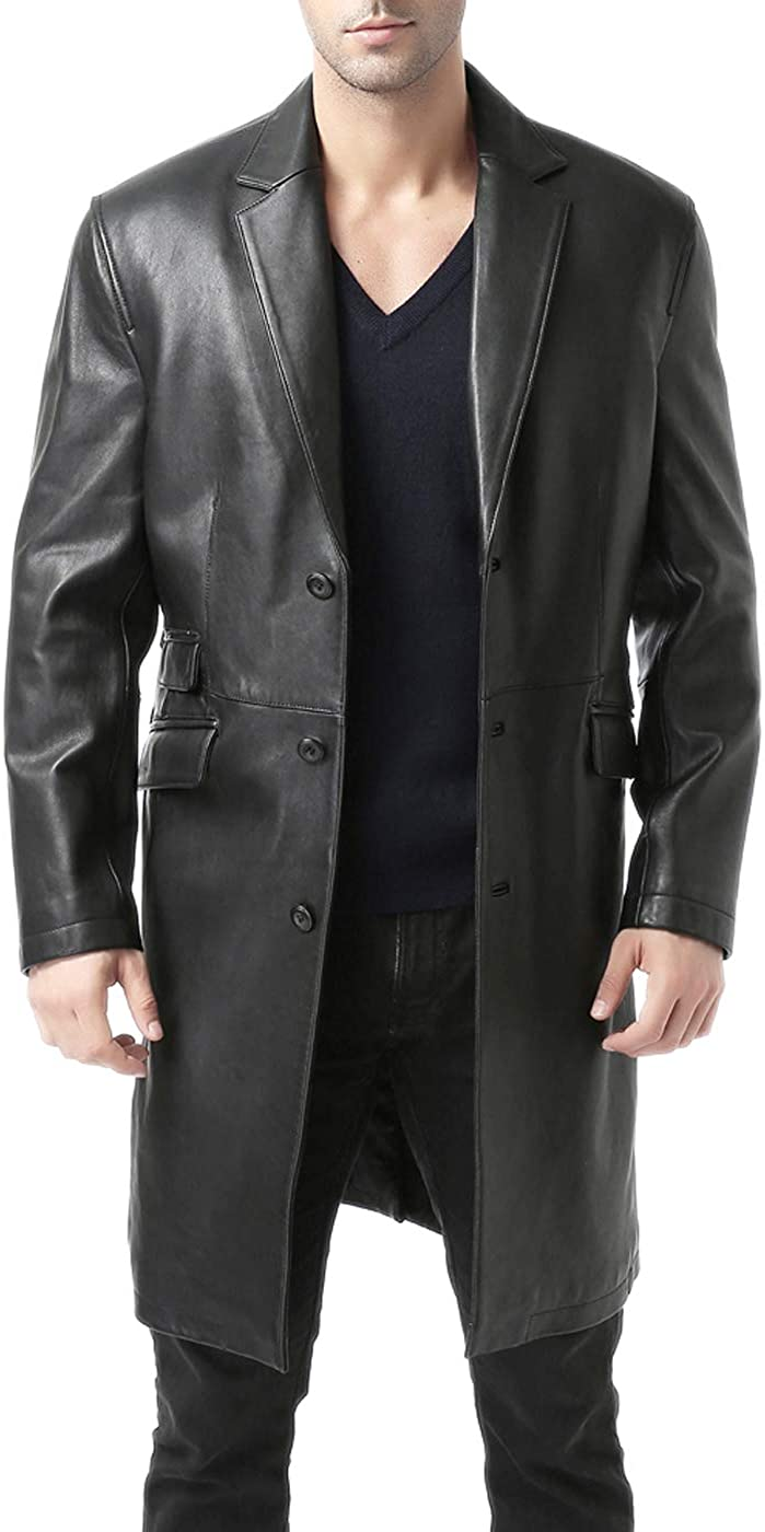 BGSD Men's New Zealand Lambskin Leather Long Coat (Regular & Tall)