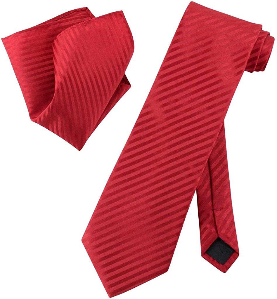 Vesuvio Napoli RED Striped NeckTie & Handkerchief Matching Men's Neck Tie Set