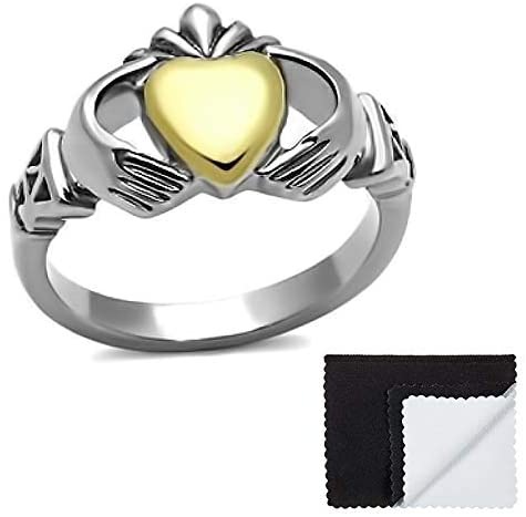 The Bling Factory Stainless Steel Two Tone High Polished and Gold Plated Irish Claddagh Heart Ring