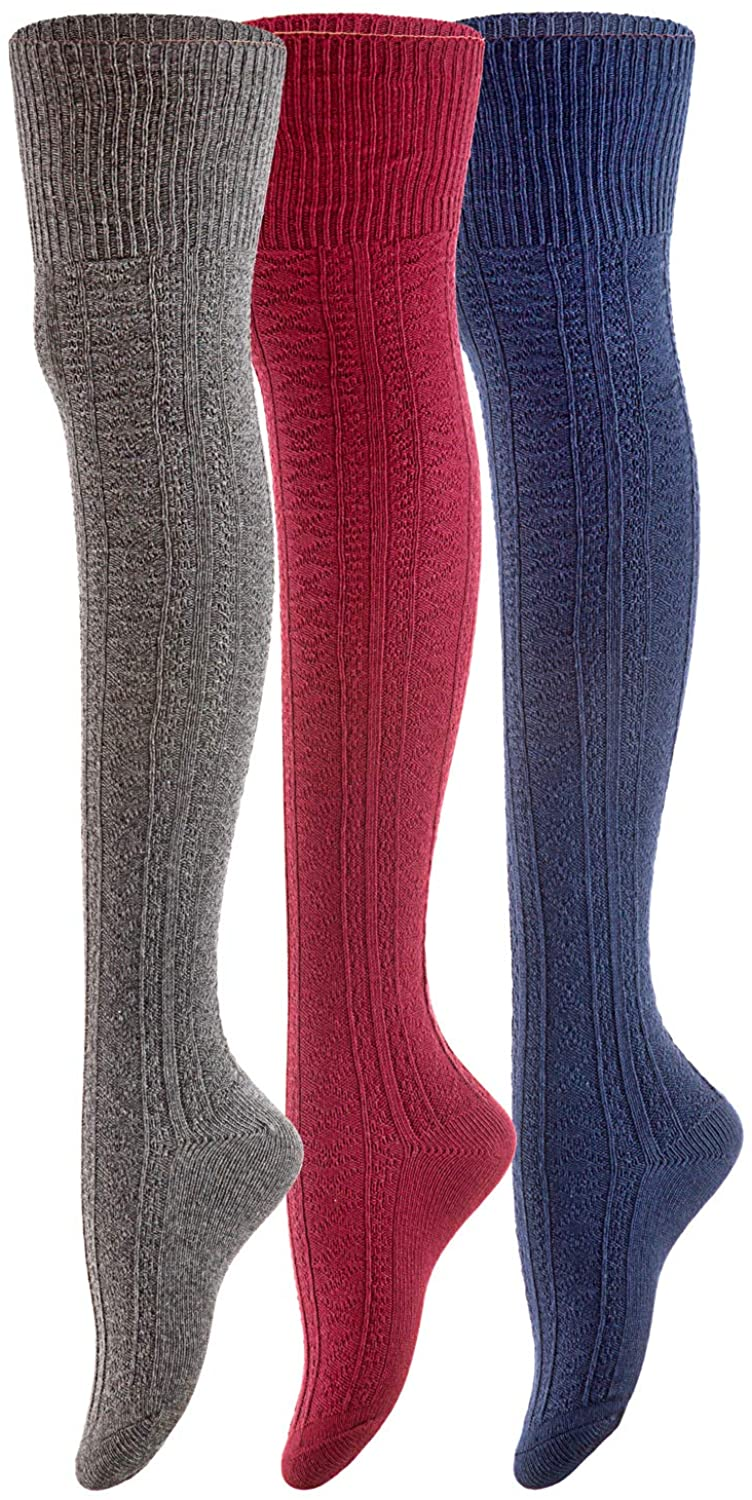 Women's 3 Pairs Thigh High Cotton Socks JM1025 Size 6-9