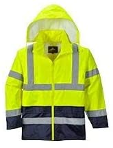Portwest UH443YBRL, 190T Essentials Hi-Vis Contrast Rain Jacket (Pack of 7 pcs)
