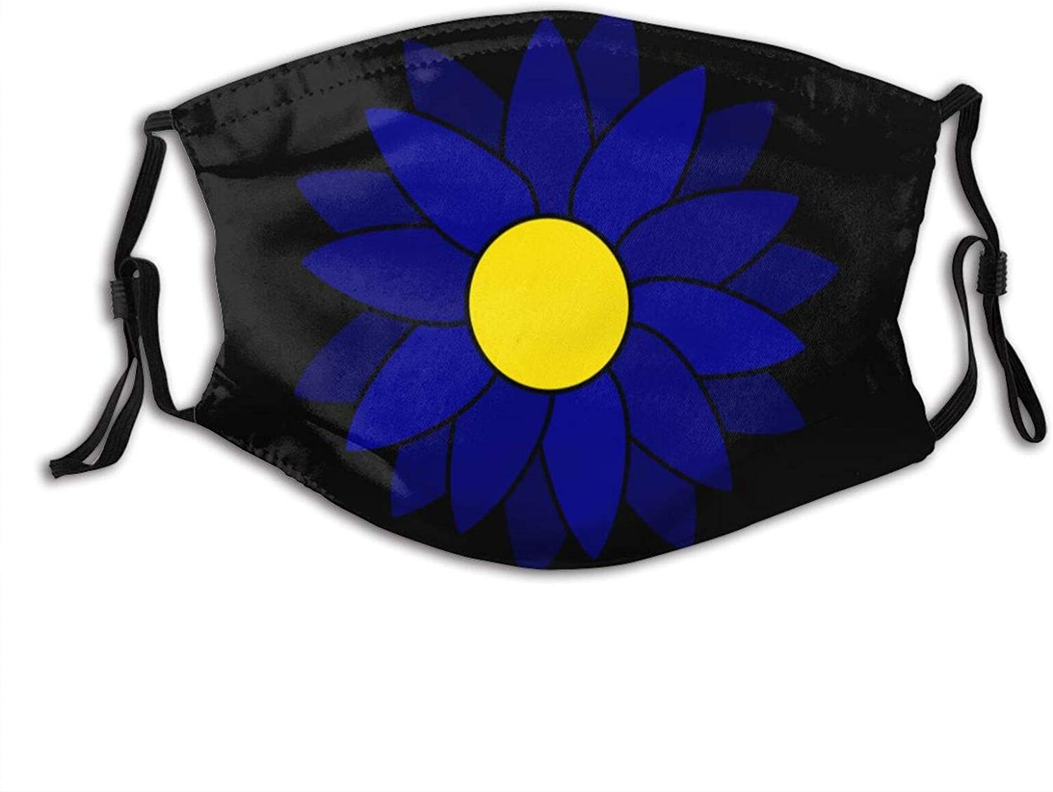 Sun'S Blue Sunflower Face Mask With Pocket Washable Face Bandanas Balaclava Reusable Fabric Mask With 2 Pcs Filter
