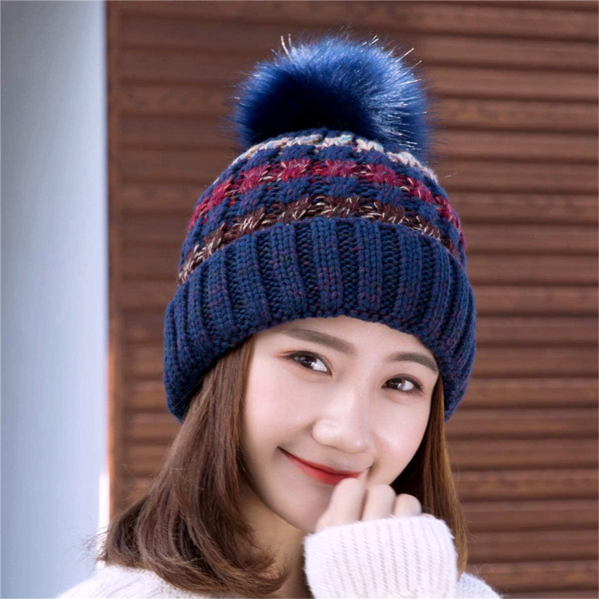 IMIKE Women's Thick Knit Beanie Hat Winter Fleece Lined Warm Soft Stretch Slouchy Cable Pom Pom Beanie Hat Skull Cap Ski Cap