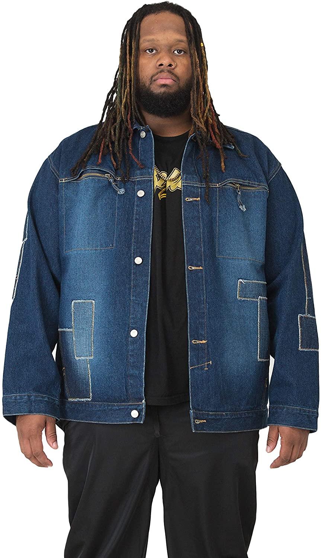 Vibes Big Men Patchwork Denim Jacket with Zipper Pocket Dark Sandblast Washed