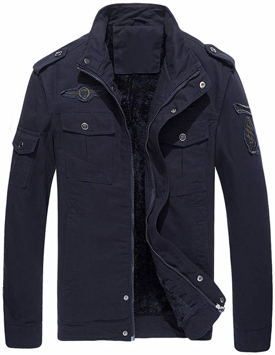 TACVASEN Men's Jackets-Casual Cotton Bomber Military Thicken Windbreaker Coats Outwear