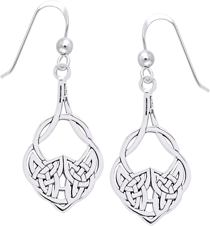 Jewelry Trends Sterling Silver Celtic Teardrop Knot Work Dangle Earrings Irish Jewelry