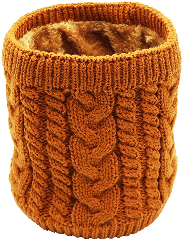 Winter Fleece Lined Knitted Neck Warmer Scarf, 2 or 1 Pack Neck Gaiter for Women Mens