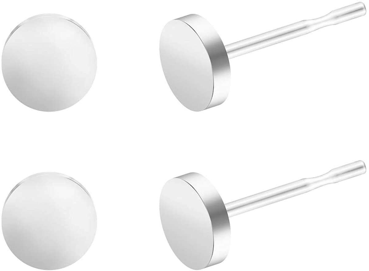 BEADNOVA Dot Circle Earrings Flat Dot Studs Circle Studs for Men Women (5,6,8mm, Black, White, Gold, 2-3 Pairs)