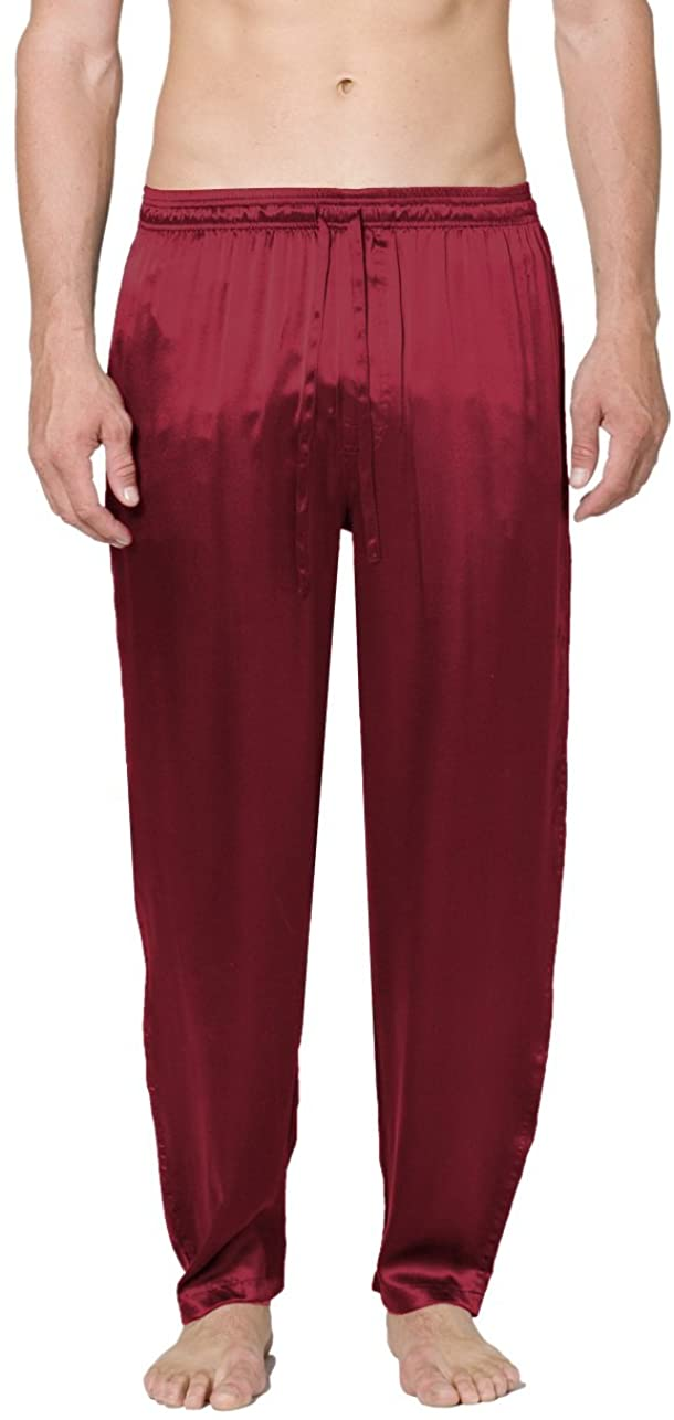 Intimo Men's Classic Silk Pant, Maroon, Small