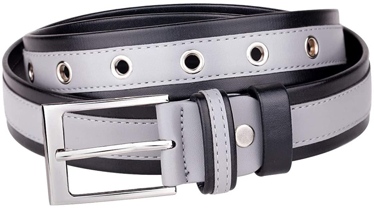 Samtree Striped PU Leather Belt for Women Men, Adjustable Single Prong Buckle Two Color Grommet Waist belt for Jeans Dresses