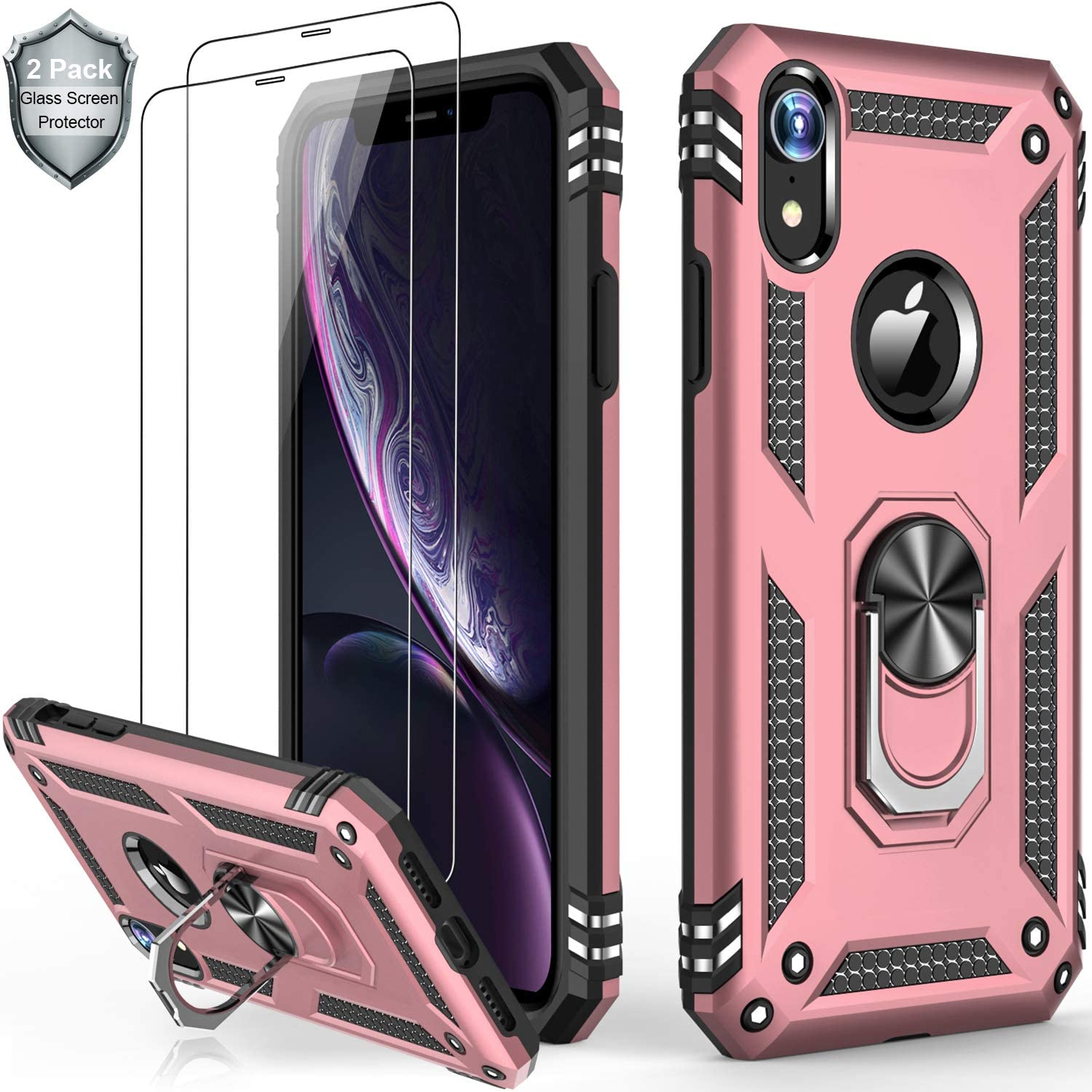 iPhone Xs Max Case with Tempered Glass Screen Protector,Military Grade 16ft. Drop Tested Cover with Magnetic Ring Kickstand Protective Phone Case for iPhone Xs Max Rose Gold