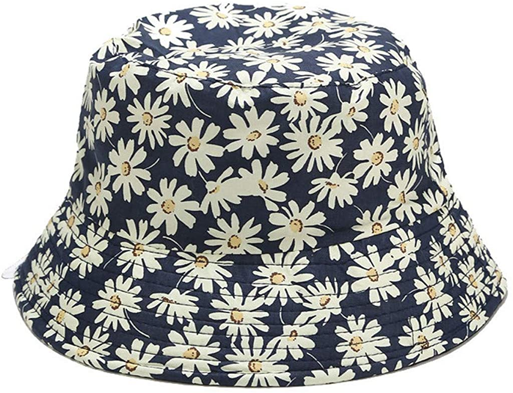 Fashion Unisex Fisherman Cap, Daisy Print Double Side Bucket Hat Cap for Men and Women