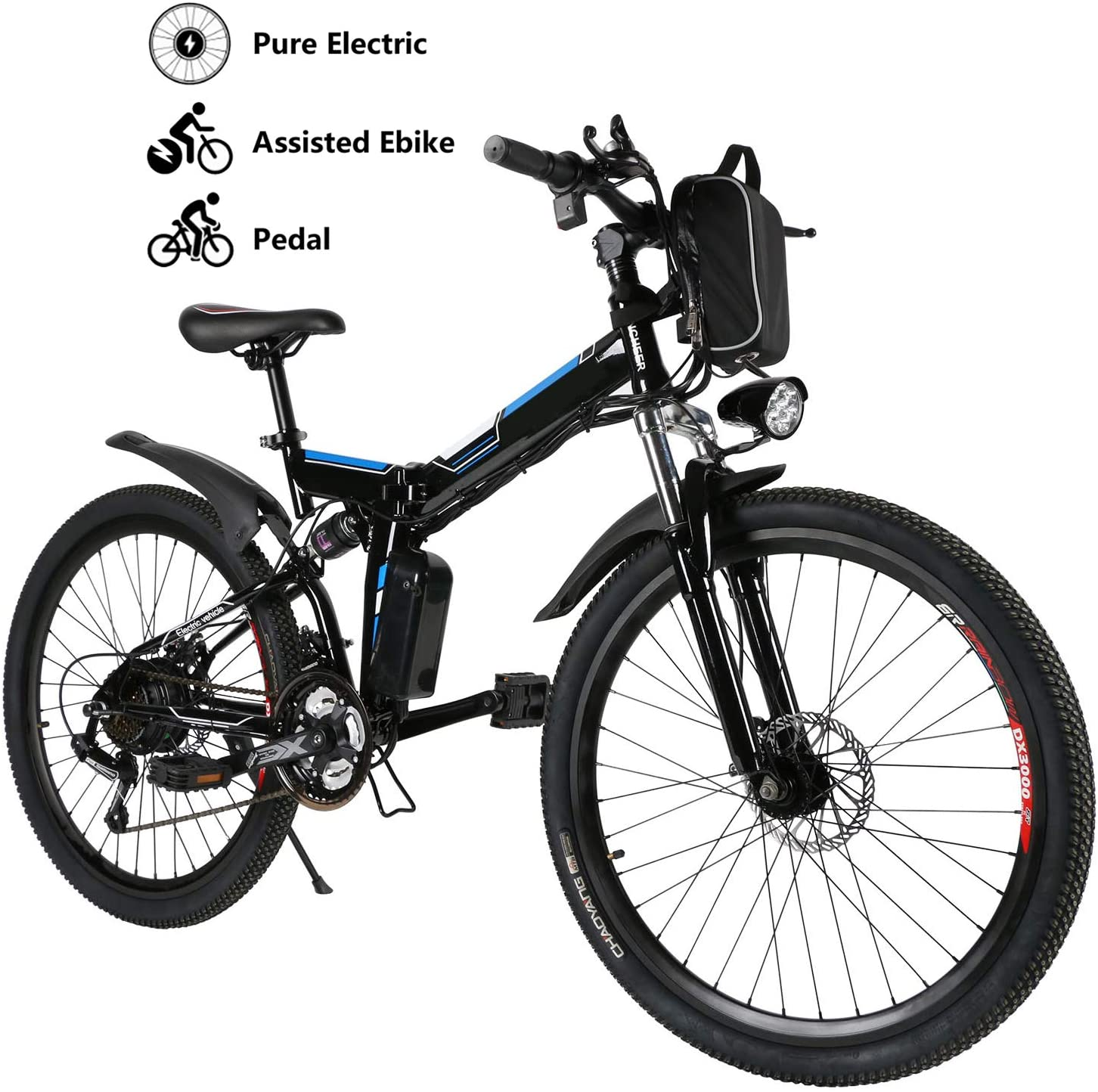 Yiilove 26'' Electric Bicycle Electric Mountain Bike for Adult with 36V Lithium-Ion Battery 250W Powerful Motor 21 Speed Ebike (Black Blue)