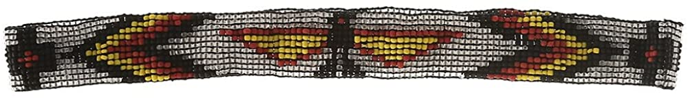 Austin Accent Inc Mens Austin Accent 7/8 Beaded Stretch Eagle Hat Band Grey/Yellow