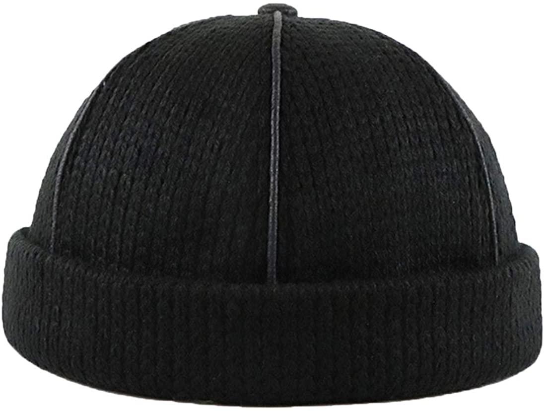 Ez-sofei Men's/Women's Retro Brimless Skull Caps Rolled Cuff Beanie Hat