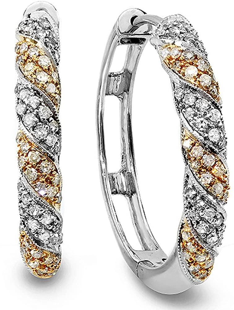 1.10 Carat (ctw) 14k Two Tone Gold Round Diamond Hoop Earrings
