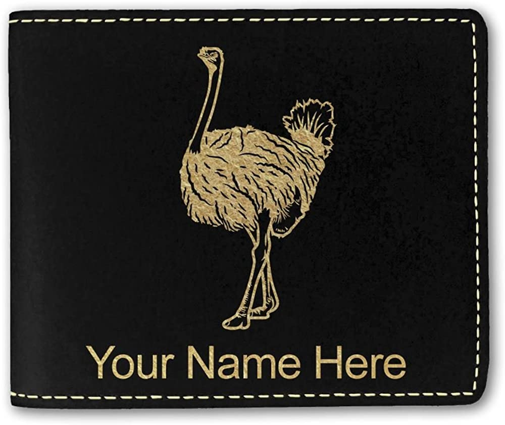 Faux Leather Wallet, Ostrich, Personalized Engraving Included