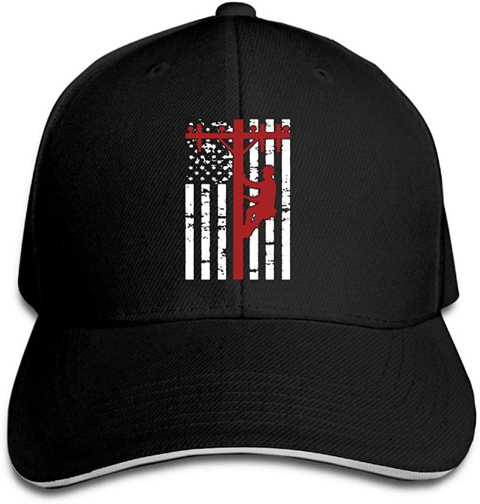 ETFHTDYTRI Lineman American Flag Electric Cable Lineman Gift Sandwich Hats Baseball Cap Dad Hat