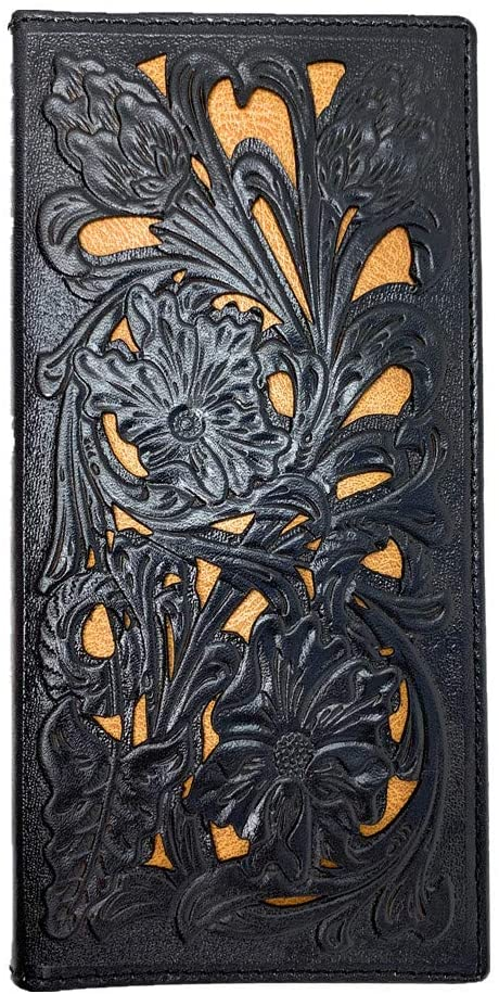 Western Genuine Leather Floral Tooled Laser Cut Mens Long Bifold Wallet in 4 colors (Brown)