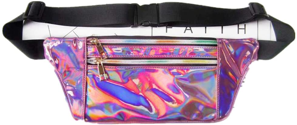 Amily Holographic Fanny Pack Bag Iridescent Bum Bag Purse for Rave and Festival