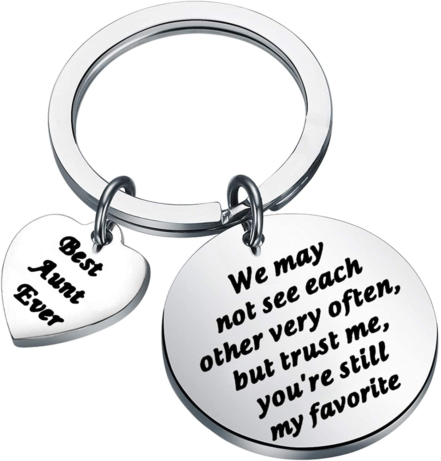 BLEOUK Aunt Keychain Aunt Gift Aunt Birthday Gift Long Distance Aunt Gift Best Aunt Ever Keychain Aunt Gift from Niece Nephew