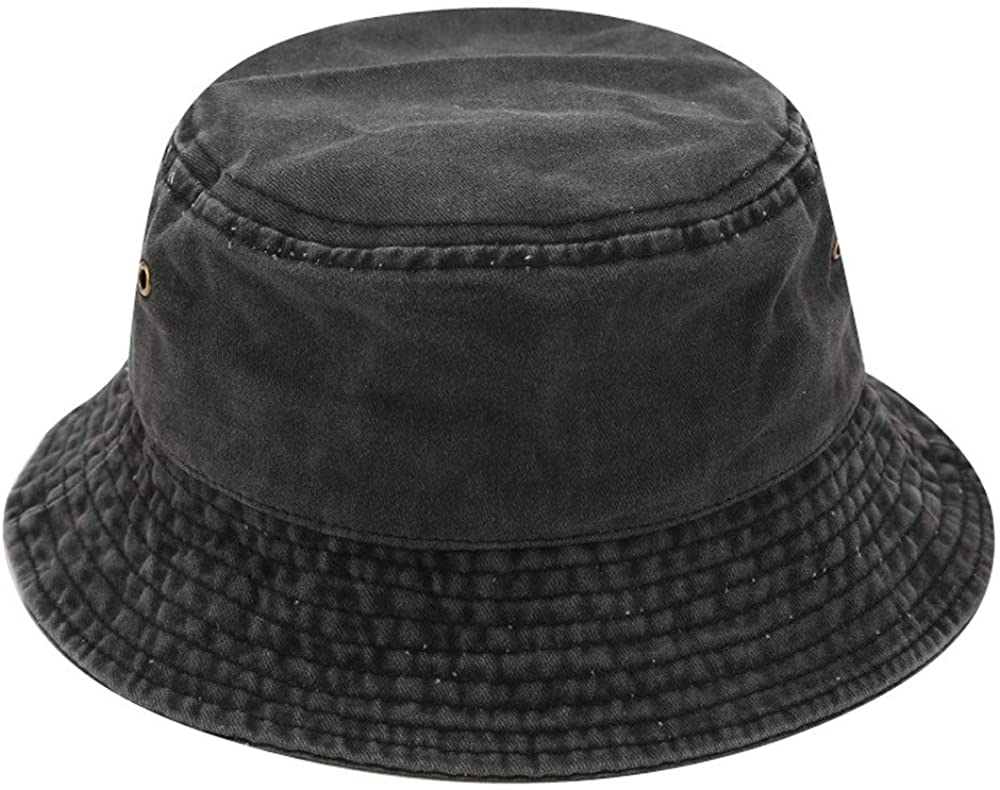 Vintage Solid Colored Bucket Hat for Men and Women Cotton Sun Hat UV Protection Foldable Washable