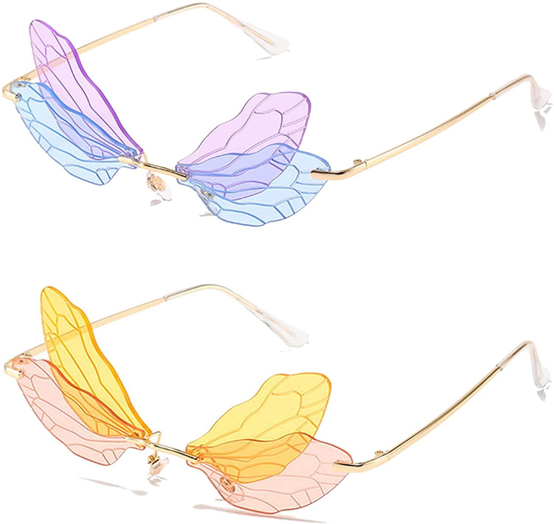 Fashion Rimless Dragonfly Wing Sunglasses Women Vintage Clear Ocean Lens Eyewear Men Pink Yellow Sun Glasses Shades UV400