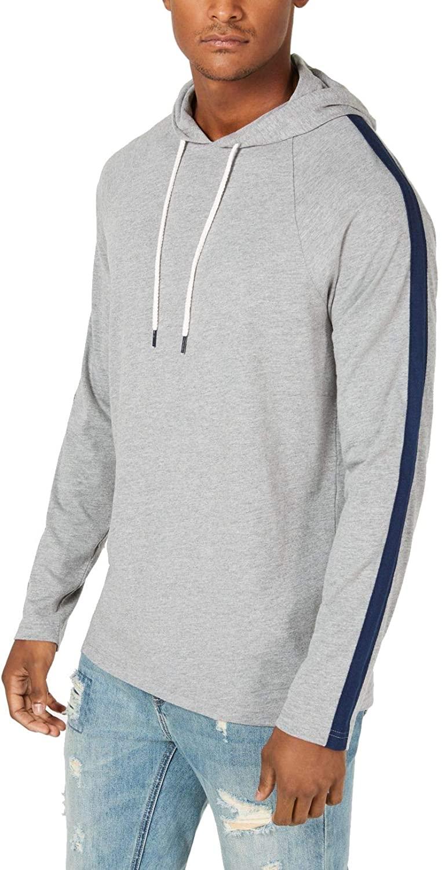 American Rag Mens Striped Sleeve Hoodie Sweatshirt