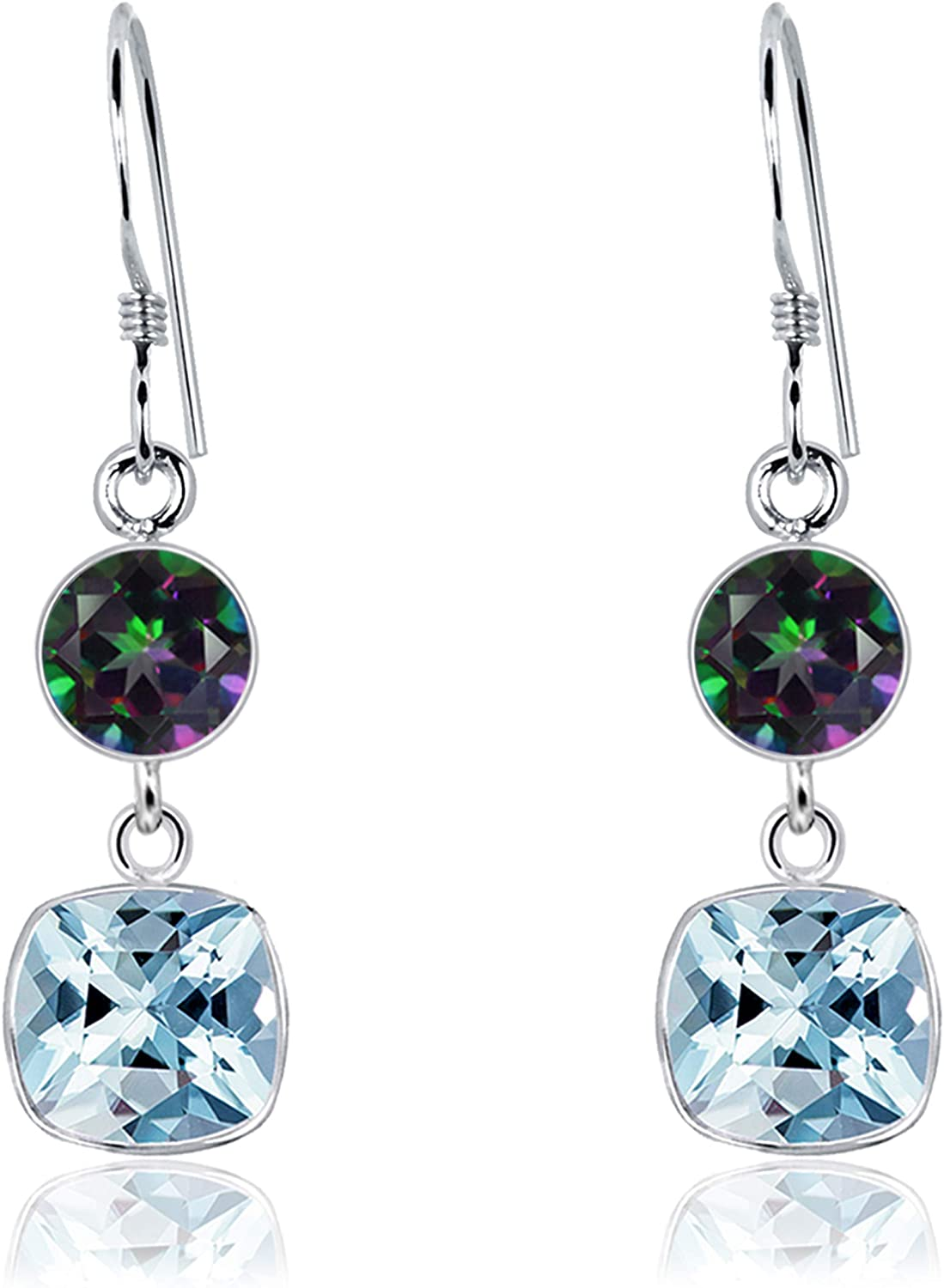 Orchid Jewelry 2.25 CTW 6MM Round Multi Mystic Topaz 925 Sterling Silver Dangle Earrings For Women - A Beautiful Pair For Little Girls and Lovely Ladies