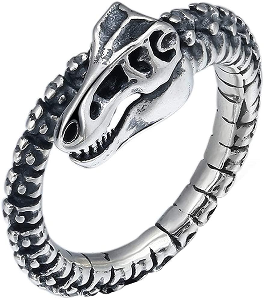 Vintage 925 Sterling Silver Dinosaur Skeleton Ring for Men Women Adjustable Size 8-10.5