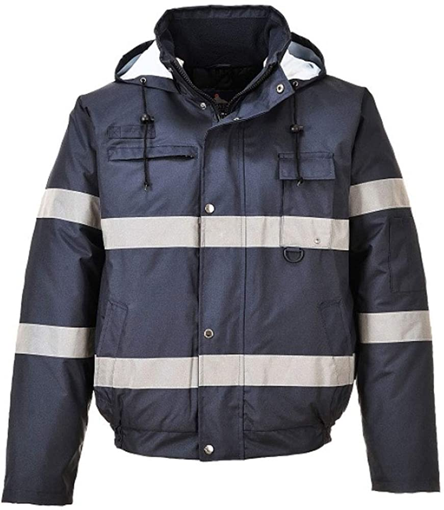 Portwest Lona Lite Long Sleeve Men's Safety Bomber Jacket with Hood - Waterproof & 100% Polyester