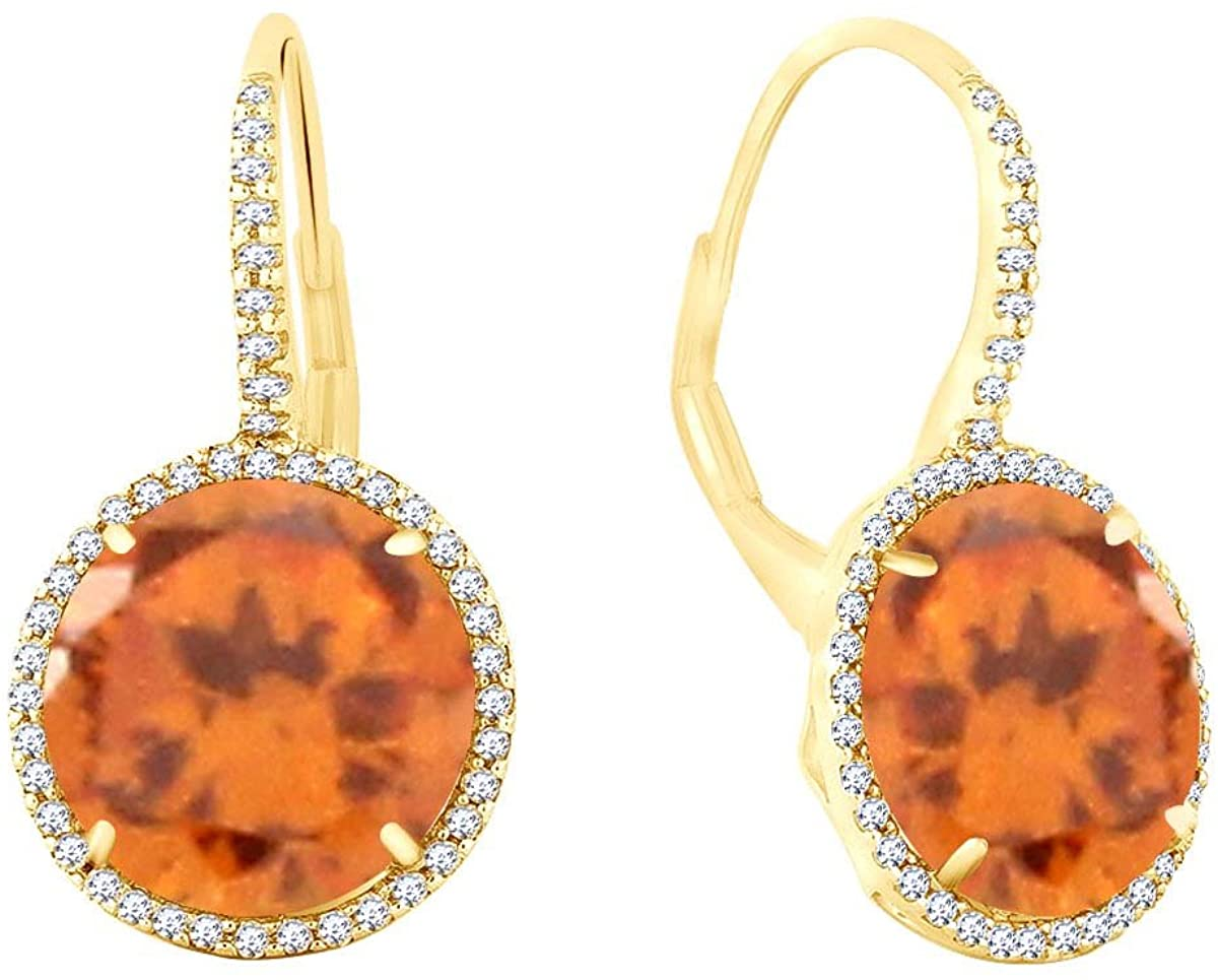 Simulated Gemstone Halo Drop Earrings In 14K Yellow Gold Over Sterling Silver (14.45 Cttw)
