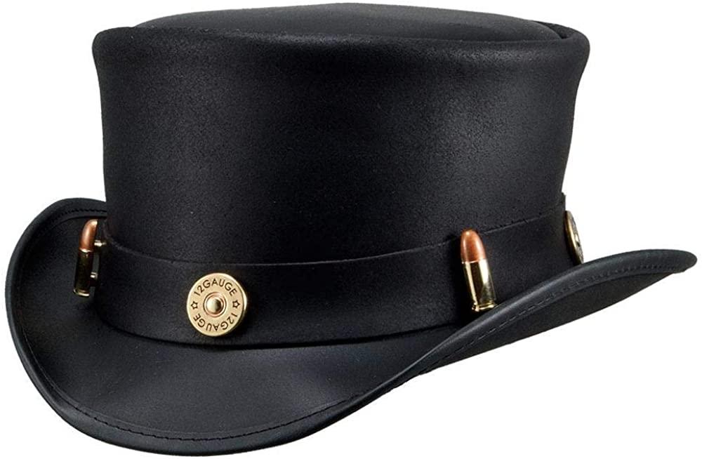 Voodoo Hatter Marlow-Bullet Band Black Leather Top Hat