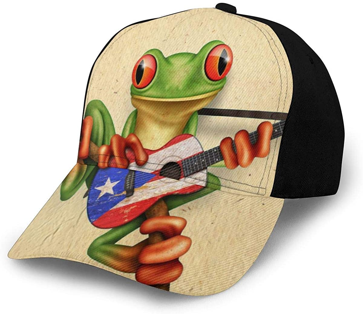 Nicokee Tree Frog Playing Puerto Rico Flag Guitar Hat Baseball Cap Adjustable Snapback Hats Ball Hat for Men and Women
