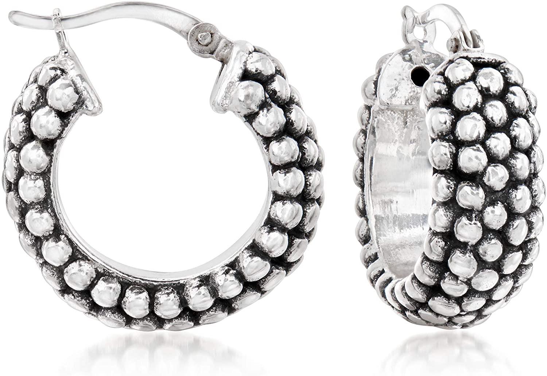 Ross-Simons Sterling Silver Beaded Hoop Earrings