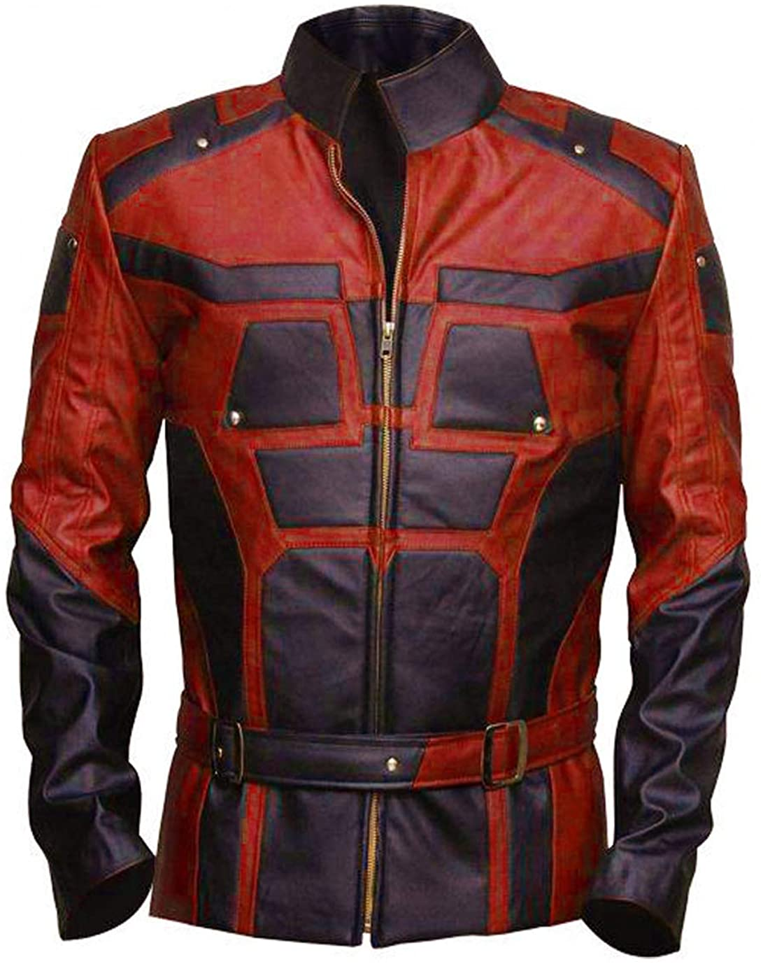GetYouStyle Super Hero Mens Real Leather Jacket Multicolor RED & Black