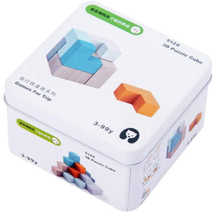 Portable Game for Trip Iron Box Wooden Educational Early Education Toys 3D Puzzling Cube Building Toys Kids 2 3 4 5 Years Old Best Gift Toys (3D Rubik's Cube)