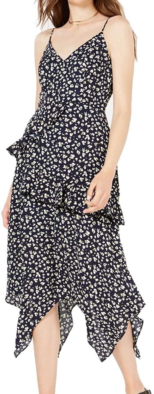 Trixxi Womens Blue Printed Spaghetti Strap V Neck Midi Sheath Party Dress Size 9