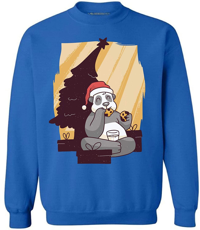 Awkward Styles Ugly Christmas Sweatshirt Xmas Panda with Cookies Sweater