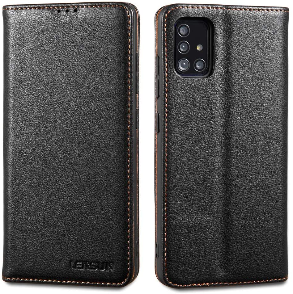 LENSUN Samsung Galaxy S20 Leather Case, Wallet Flip Genuine Leather Folio Phone Case Cover with Magnetic Closure Kickstand and Credit Holder for Samsung Galaxy S20 – Black (S20-DC-BK)