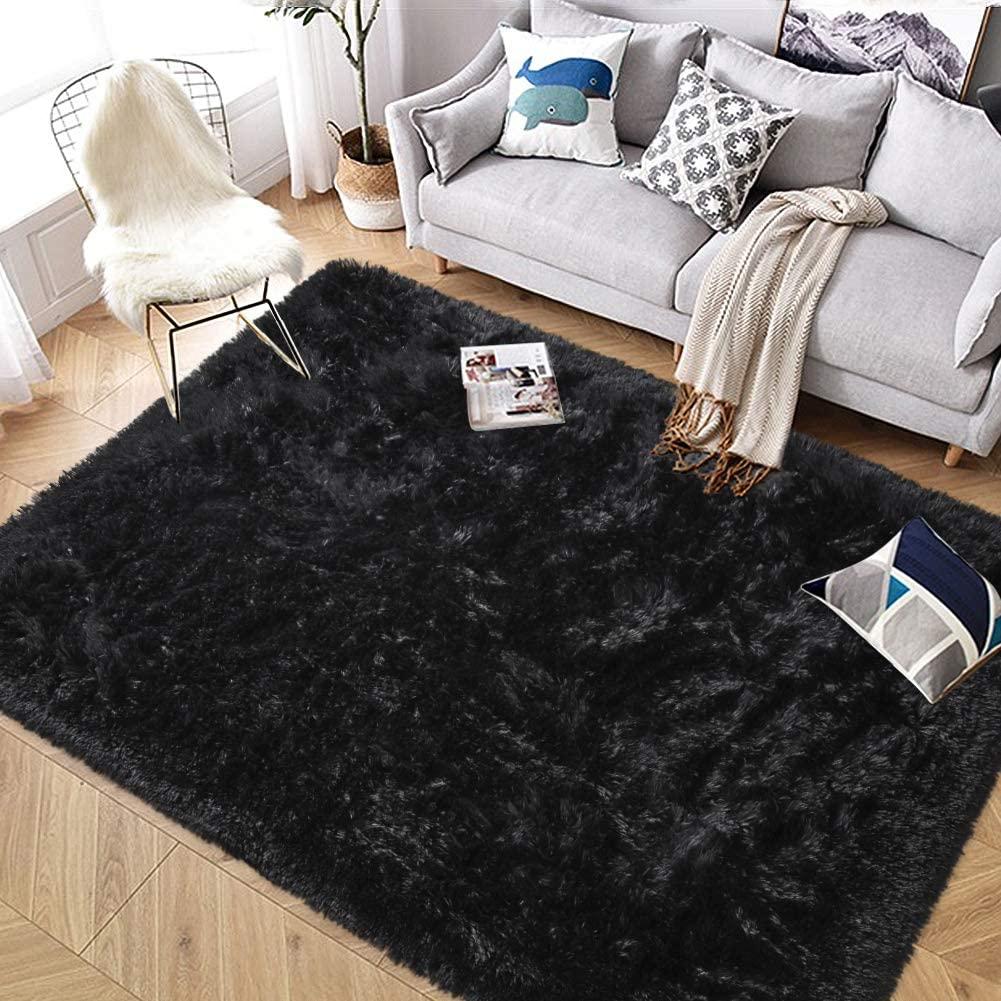 Super Soft Indoor Modern Shag Area Rug Bedroom Silky Smooth Rugs Fluffy Anti-Skid Shaggy Area Rug Dining Living Room Kids Carpet (4' x 6', Black)