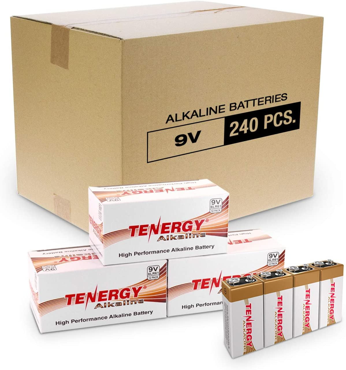 Tenergy 6LR61 9V Alkaline Battery, Non-Rechargeable Battery for Smoke Alarms, Guitar Pickups, Microphones and More, 240-Pack